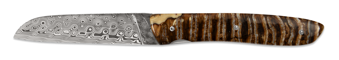 L10 Damascus blade - Mammoth Ivory handle