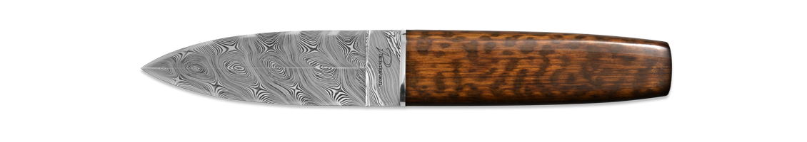 Twisted damascus double-edged grind - snakewood - unique
